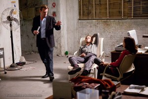 Director Christopher Nolan with Leonardo DiCaprio and Ellen Page on Inception
