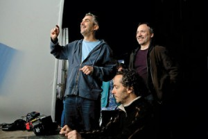 Cuarón (left) and Lubezki (center) working with digital techniques on Gravity set