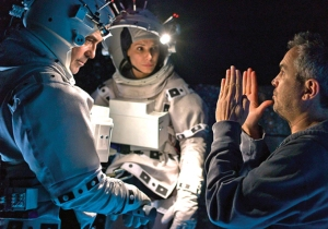 George Clooney, Sandra Bullock, and Alfonso Cuarón making Gravity