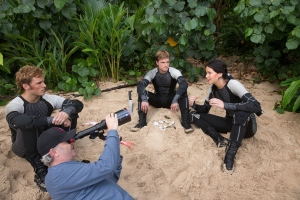 Director Francis Lawrence measures up a shot with Jennifer Lawrence on Catching Fire