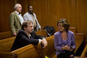 Barry Scheck of The Innocence Project and screenwriter Pamela Gray, seated