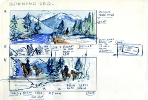 "Storyboard example from ""The Hanging Tree"" by writer/director/artist Delmer Daves"