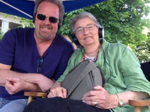 Matt Myers on the set of The Great Gilly Hopkins with author Katherine Paterson
