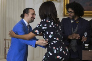 Lin-Manuel Miranda, Michelle Obama, and Daveed Diggs at the White House